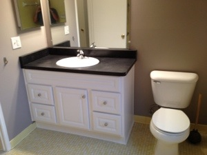 new bathroom cabinet & counter top