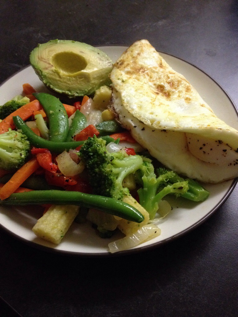eggs, veggies, and avocado