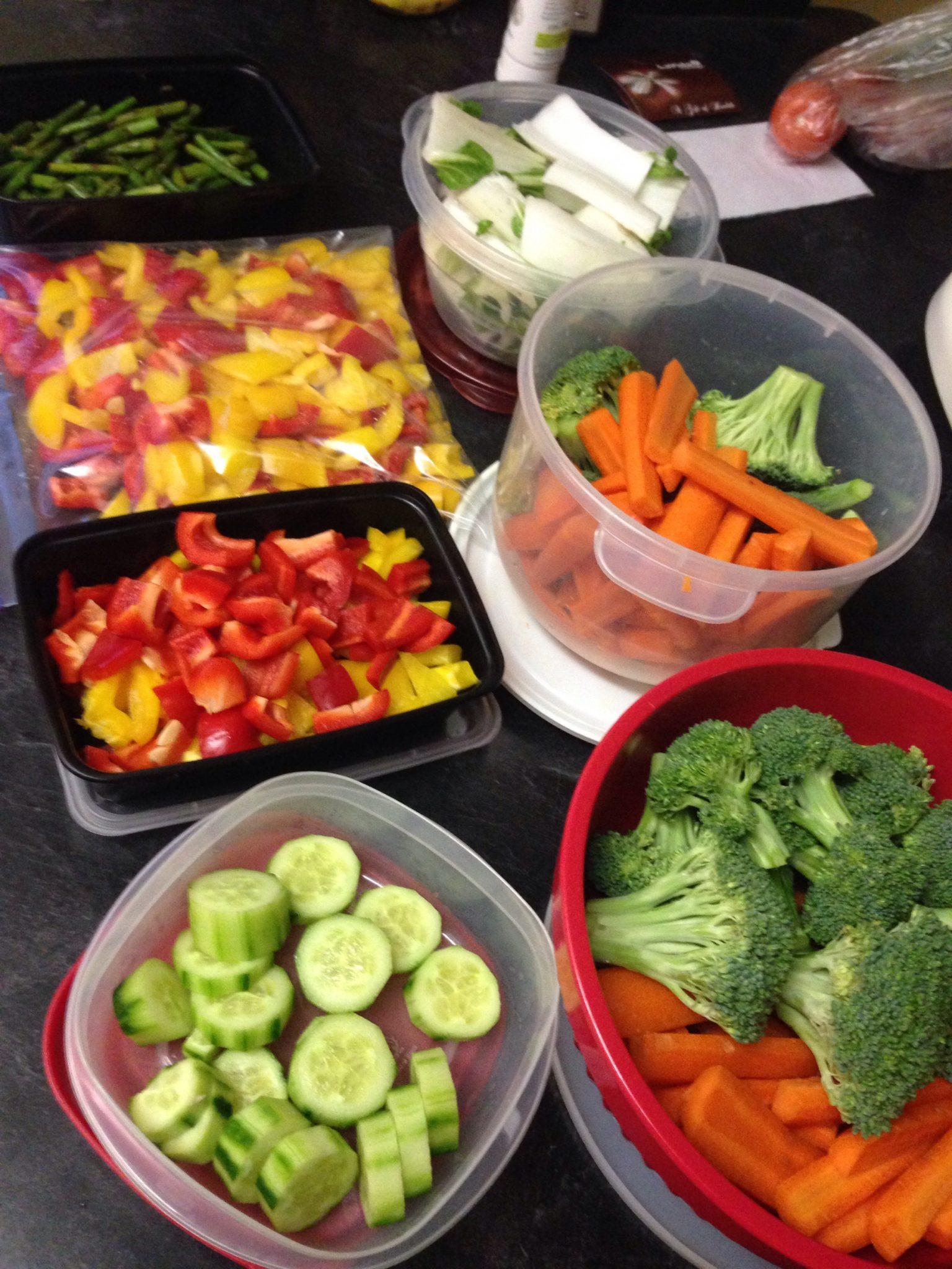 prepped vegetables