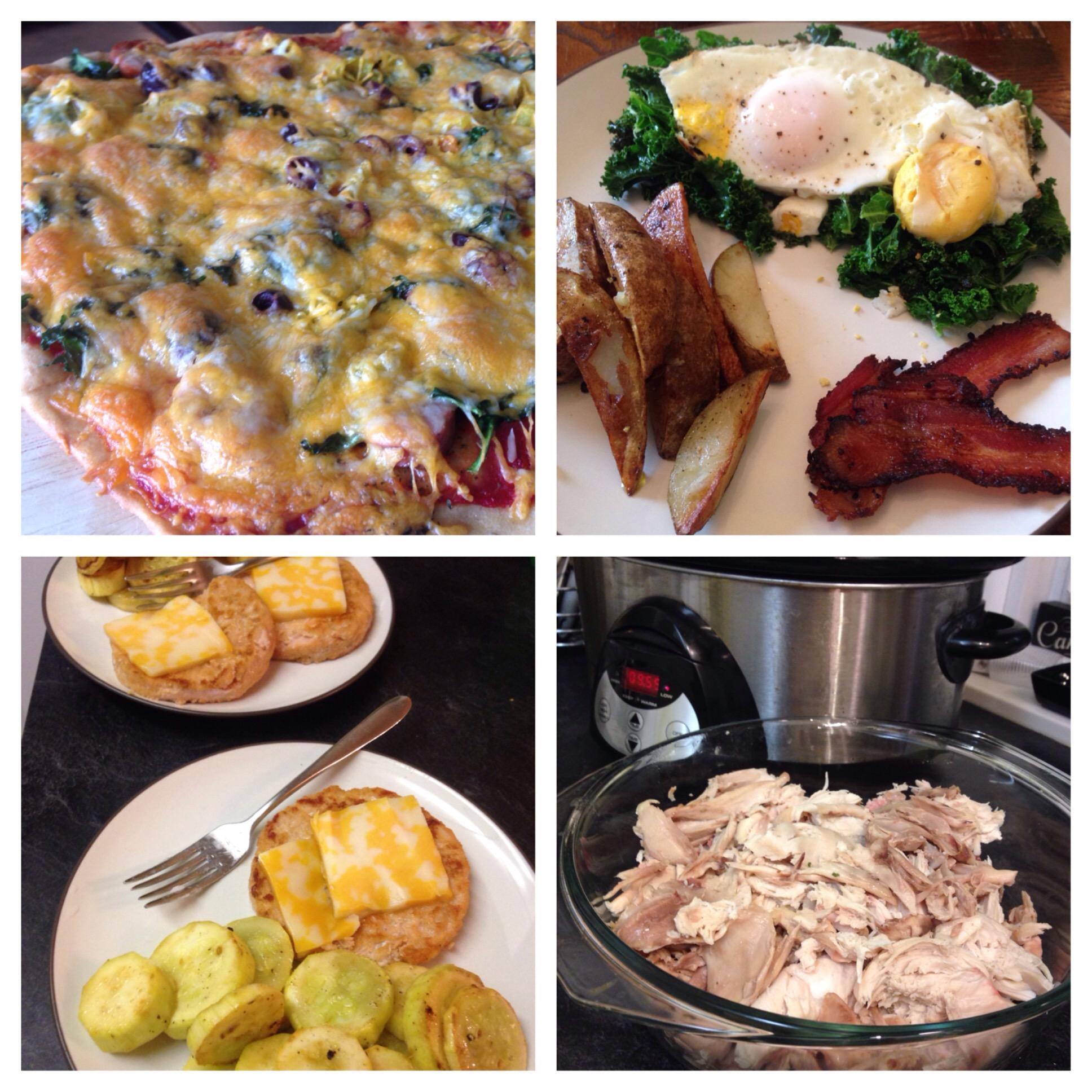 homemade pizza, breakfast, salmon burgers, rotisserie chicken