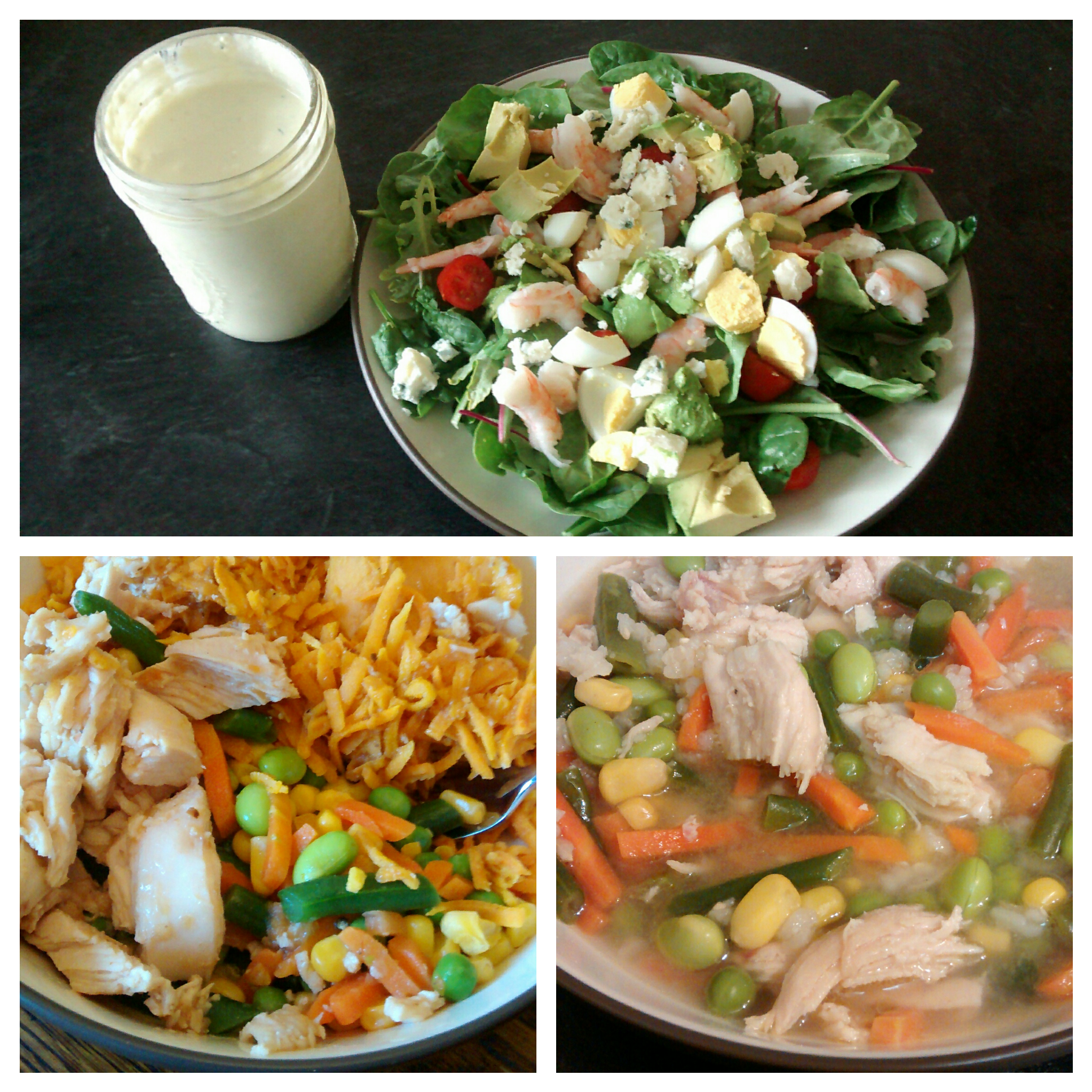 cobb salad, chicken with sweet potato hash, chicken and veggie soup