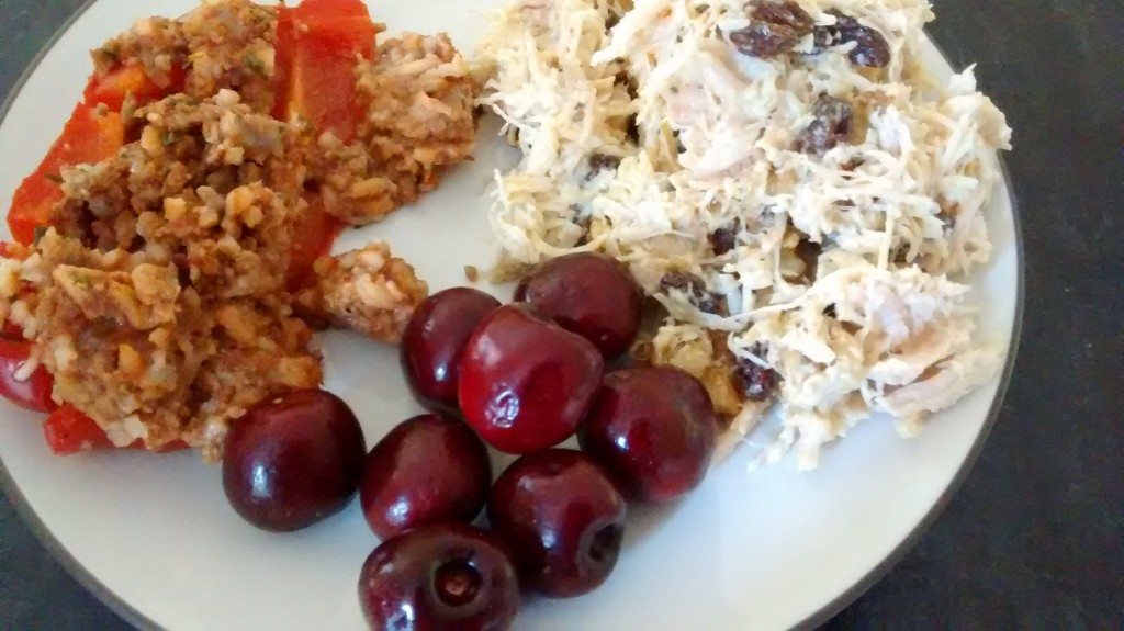 stuffed pepper, chicken salad, cherries